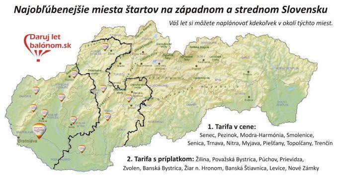 Miesta startov SR 2 tarify